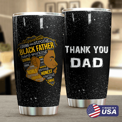 Black Father Personalized Thank You Tumbler PRE846 -1