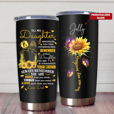 Gift For Daughter Pencil Art Whenever You Feel Overwhelmed Remember Whose Daughter You Are From Dad - Tumbler - Personalized Name - 2