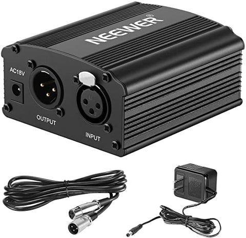 Neewer 1-Channel 48V Phantom Power Supply with Adapter