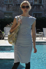 Organic Cotton Twist Dress in Natural + Blue Stripe