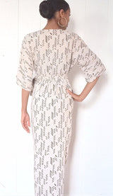 White Kimono Maxi Wrap Dress in Gray Feather - Good Cloth