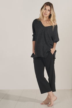 Alpaca V-Neck Pullover in Dark Grey - Good Cloth