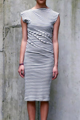 Organic Cotton Twist Dress in Natural + Blue Stripe - Good Cloth