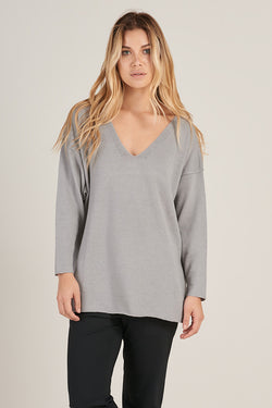 Alpaca V-Neck Pullover in Light Grey - Good Cloth