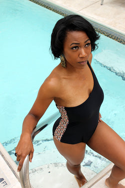 Custom Made One Shoulder Noir Swimsuit With Color Panel Size: M - Good Cloth