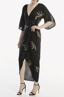 Black and Gold Kimono Maxi Wrap - Good Cloth