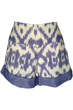 Pre Order: Limited Quantity Ikat Shorts in Denim (March Delivery)