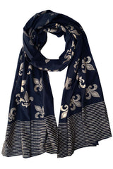 Fleur De Lis Scarf On Black - Good Cloth