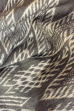 Gray Ikat Silk Blossom Scarf - Good Cloth