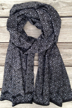Kaleidoscope Indigo Flowers Scarf - Good Cloth