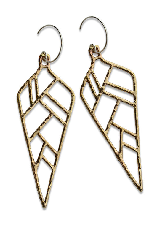 Large Bronze + Silver Feather Earrings - Good Cloth