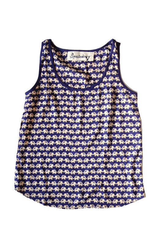 Blue and Cream Kissing Elephants Tank - Good Cloth