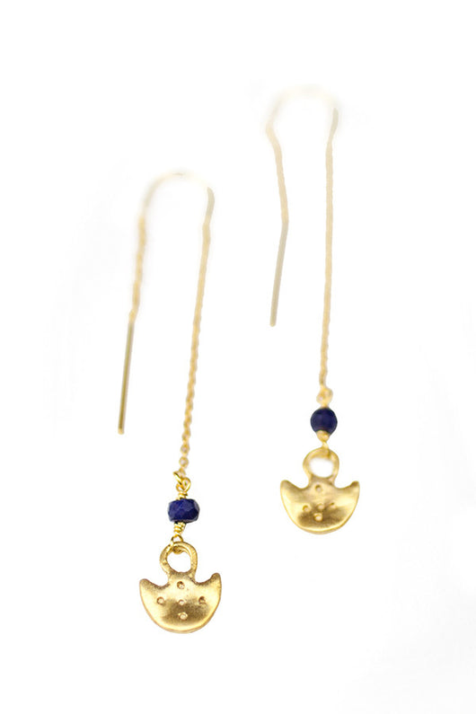 Anchor Thread Earrings with Sapphires in 14k Gold - Good Cloth