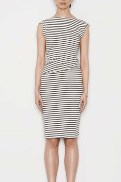 Cotton Twist Dress in Natural + Charcoal Stripe - Good Cloth