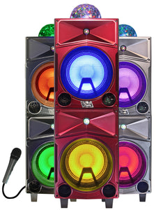 "Fully Amplified Portable 4000 watts Peak Power Double 8"" Speaker with DISCO BALL"