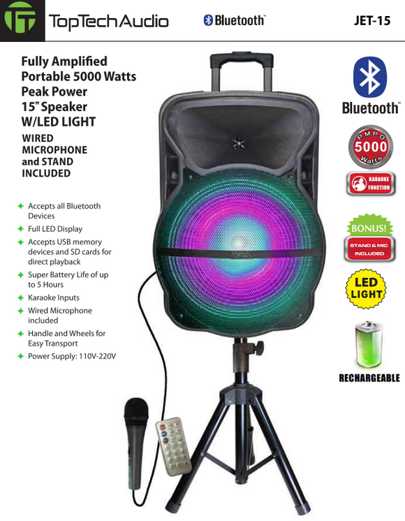 "Fully Amplified Portable 2200 Watts Peak Power 15"" Speaker WITH LED LIGHT MICROPHONE and STAND INCLUDED"