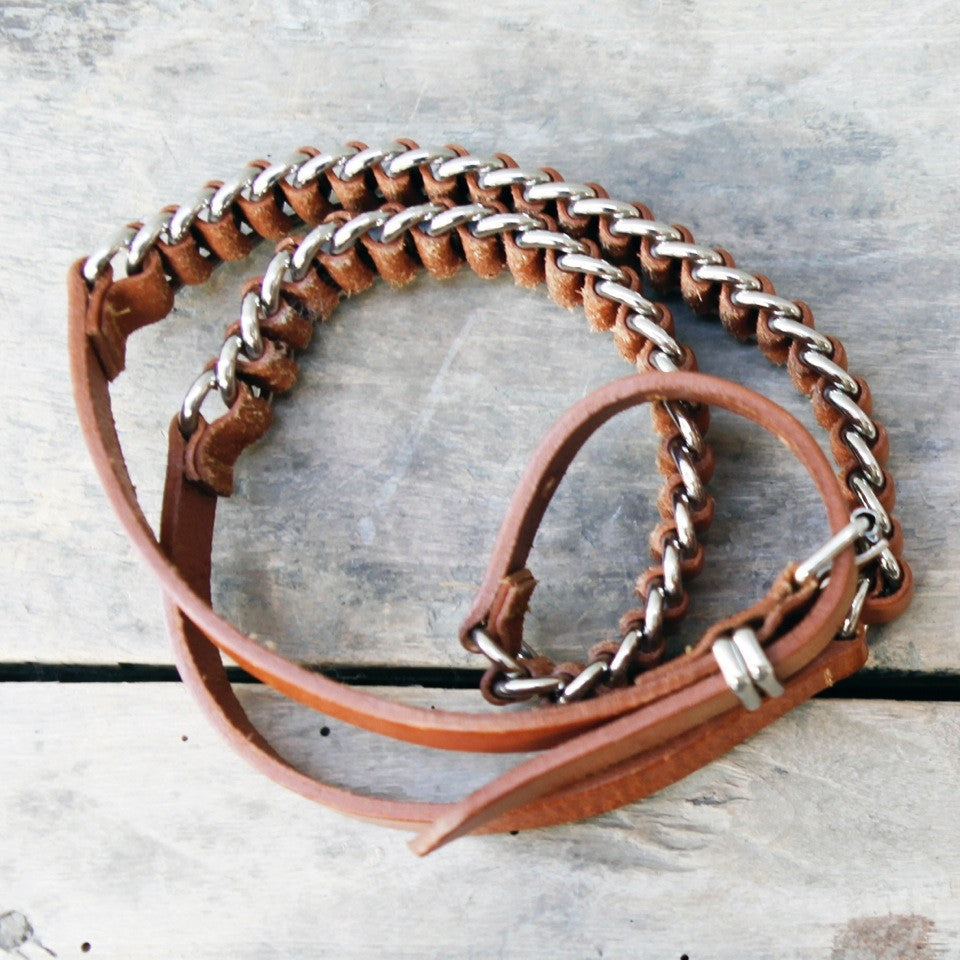 Tan Leather and Metal Belt