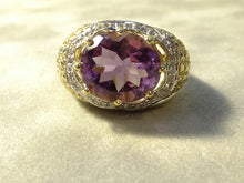 Load image into Gallery viewer, Oval Amethyst gemstone ring in Sterling Silver and Gold