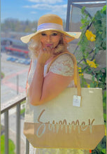 Load image into Gallery viewer, Beige Fabivo two tone beach bag
