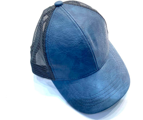 Faux leather blue ball cap