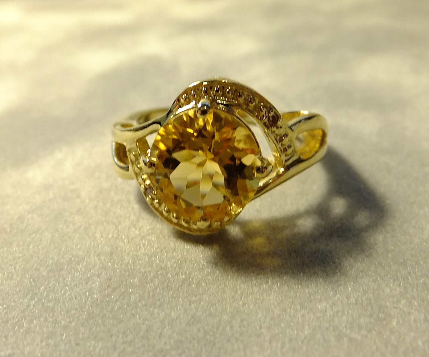 Citrine and diamond gemstone ring with gold