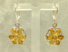 Load image into Gallery viewer, Citrine flower drop earrings