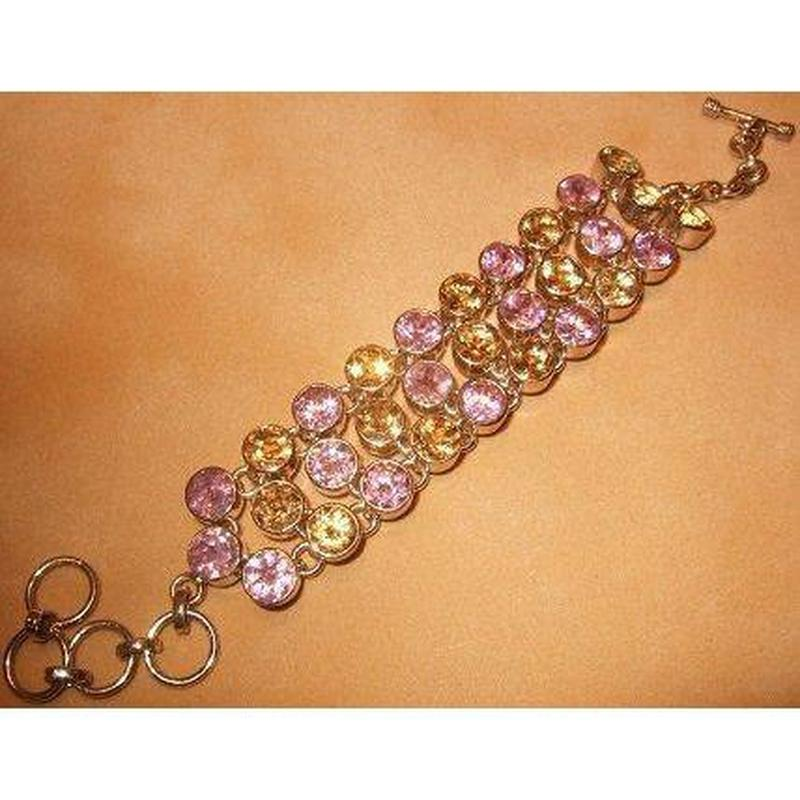 Pink Topaz and Citrine Gemstone and Sterling Silver Bracelet - butlercollection