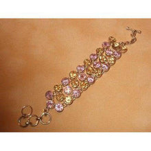 Load image into Gallery viewer, Pink Topaz and Citrine Gemstone and Sterling Silver Bracelet - butlercollection