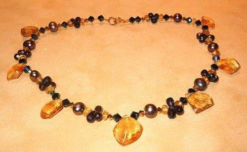 Citrine , Spinel and Freshwater Pearl Necklace - butlercollection