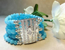 Load image into Gallery viewer, Blue quartz gemstone cuff bracelet