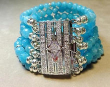 Load image into Gallery viewer, Blue qaurtz cuff bracelet