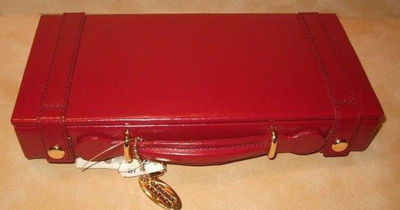Red Leather Jewelry Travel Case - butlercollection