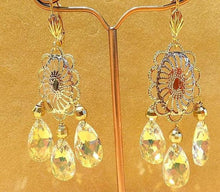 Load image into Gallery viewer, Swarovski Crystal and tri gold earring