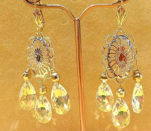 Swarovski Crystal and tri gold earring