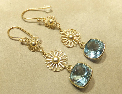 golden blue topaz drop earrings