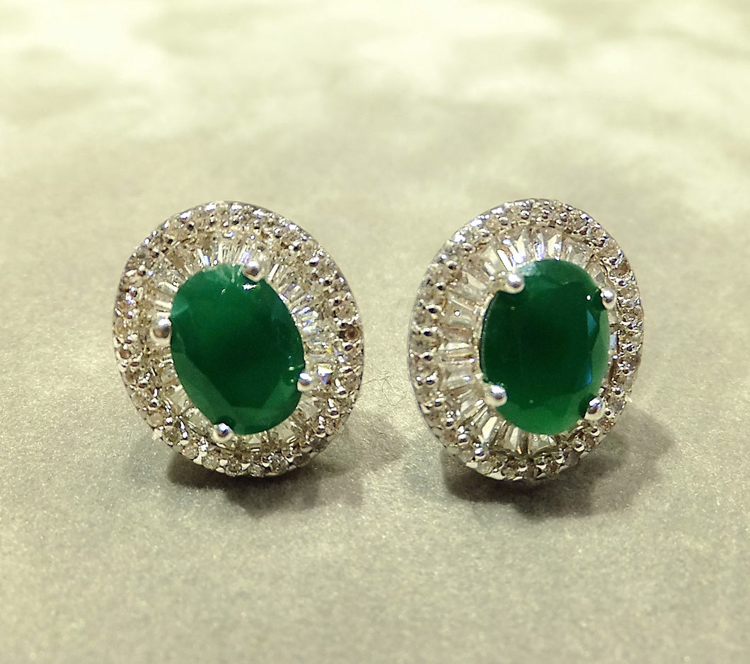Indian Emeralds and White Topaz Gemstone Stud Earrings