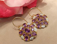 Load image into Gallery viewer, Amethyst and wite topaz gold earrings