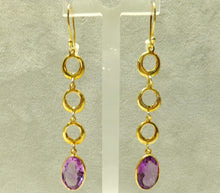Load image into Gallery viewer, Amethyst and gold long earrings