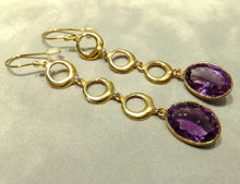Load image into Gallery viewer, Amethyst gemstone long earrings in gold