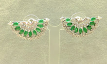 Load image into Gallery viewer, White and green chalcedony fan stud earrings