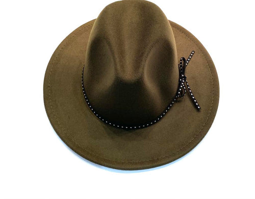 Dark green felt fedora Hat