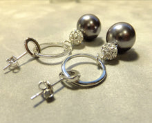 Load image into Gallery viewer, Drop sterling silver grey pearl earrings