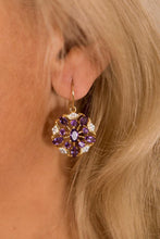 Load image into Gallery viewer, Golden amethyst drop earrings