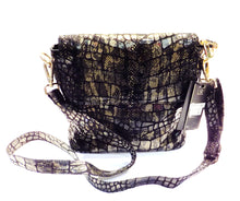 Load image into Gallery viewer, Black and Gold Italain leather handbag
