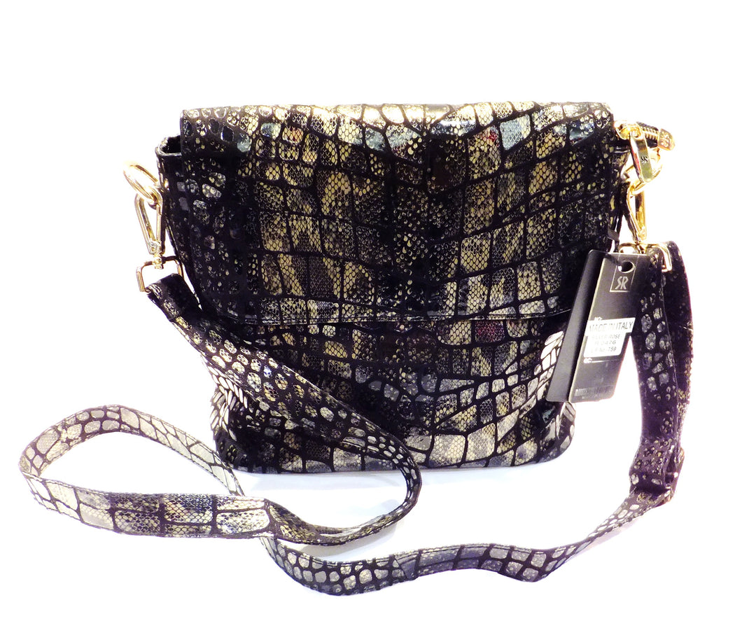 Black and Gold Italain leather handbag