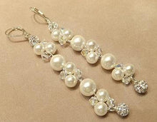 Load image into Gallery viewer, Long pearl earrings for the bride