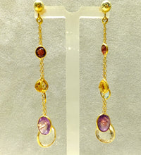 Load image into Gallery viewer, Long gold gemstones earrings