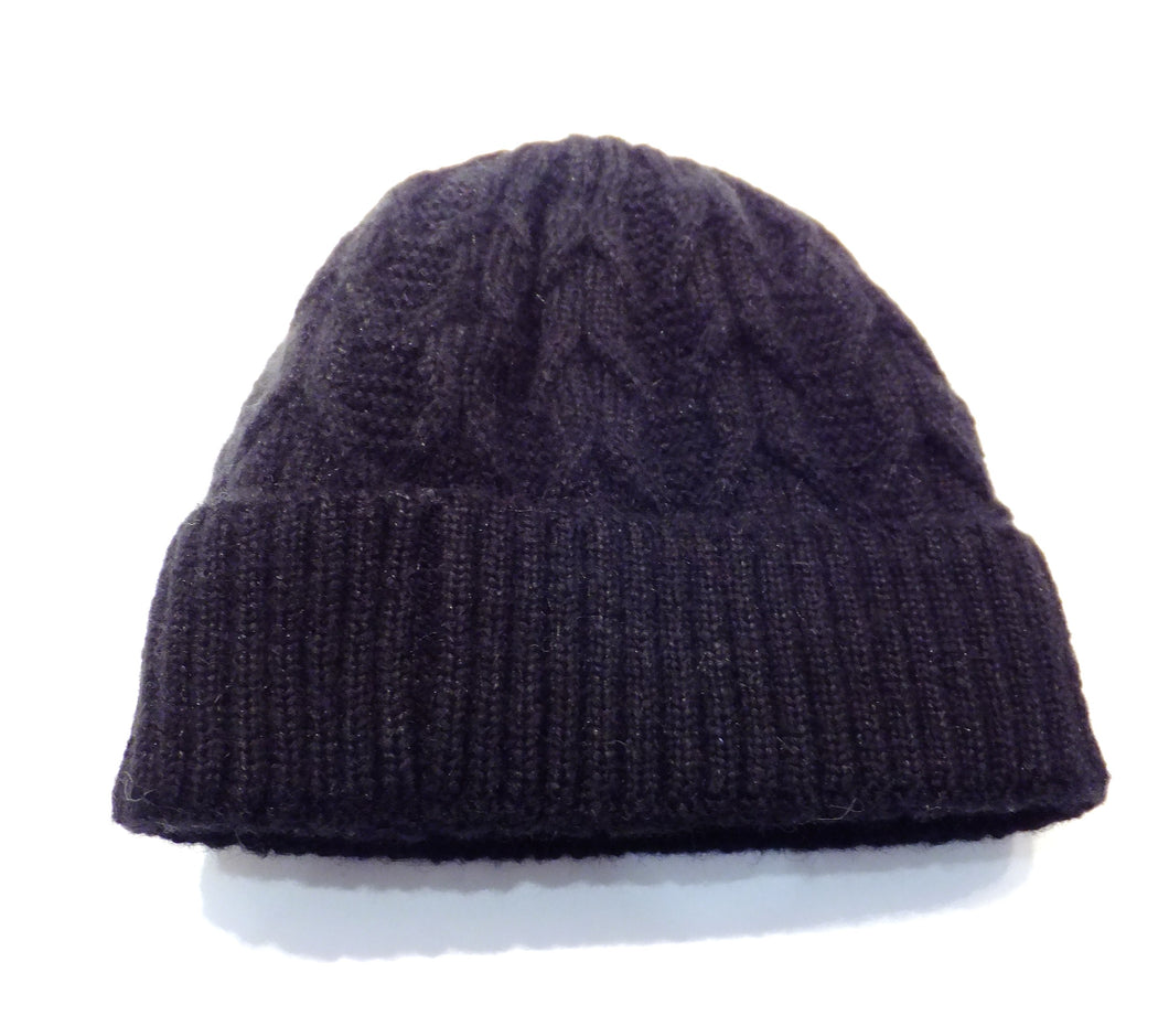 Navy blue cable knit winter hat