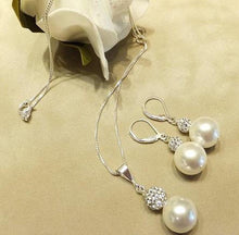 Load image into Gallery viewer, White pearl and sparkling ball jewelry gift sets in sterling silver - butlercollection