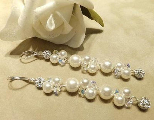 Woven pearl and crytsal bridal earrings